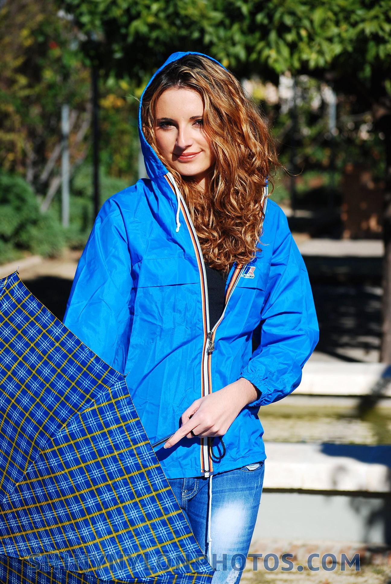Photoset 169 Shiny Nylon Blue K Way Rainjacket