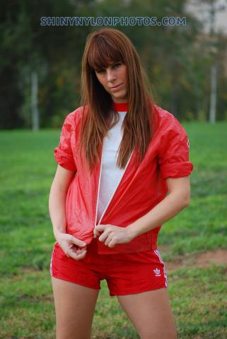 Red nylon shorts and red nylon jacket