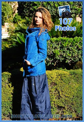 Shiny nylon darkblue long skirt and blue rainjacket