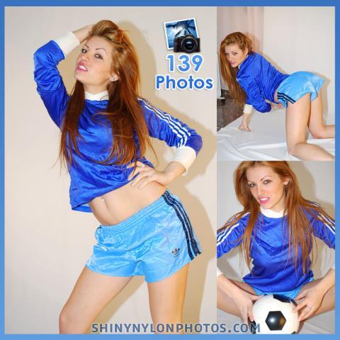 Light blue nylon shorts and blue t-shirt