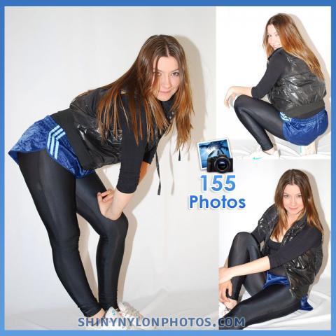 Shiny nylon darkblue shorts and black lycra leggings