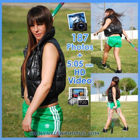 Green adidas shiny nylon shorts