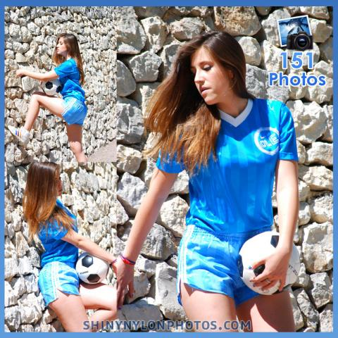 Light blue adidas nylon shorts and t-shirt