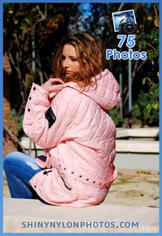 Shiny nylon pink sky jacket