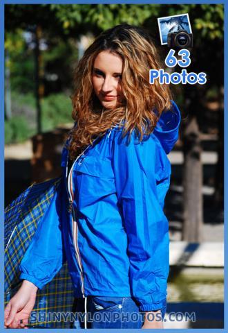Shiny nylon blue k-way rainjacket