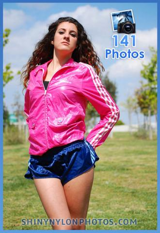 Dark blue nylon shorts and light blue nylon shorts