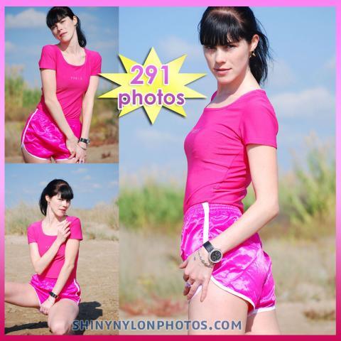 Pink nylon shorts