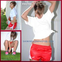 Red Puma nylon shorts