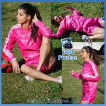 Pink nylon shorts and pink jacket