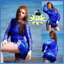 WETLOOK in Blue adidas nylon shorts