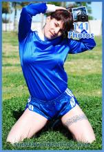 Blue nylon Sprinter shorts and blue nylon t-shirt.