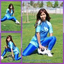 Light blue nylon shorts and lycra blue leggings and t-shirt.