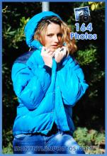 Shiny nylon blue down jacket