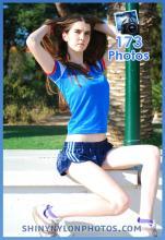 Shiny nylon darkblue shorts and blue t-shirt