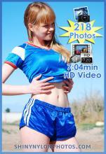 Blue sprinter nylon shorts and blue t-shirt