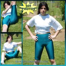 Green lycra/spandex leggings