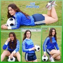 Navy blue adidas nylon shorts and soccer t-shirt
